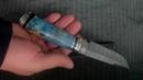 Нож Турист (дамасская сталь, стабилизированный кап, мельхиор) korenok