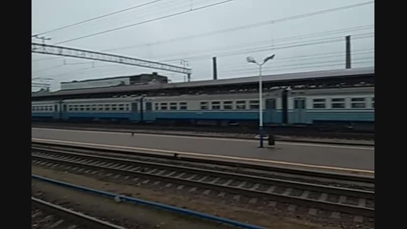 Электропоезд ЭР9М прибывает на станцию Конотоп