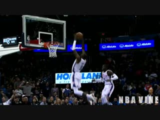Paul Georges Backboard Assist and Jerami Grants Nice Flying Dunk