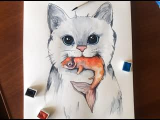 Бесплатный онлайн-вебинар на тему: «Белый в акварели. Рисуем котика»