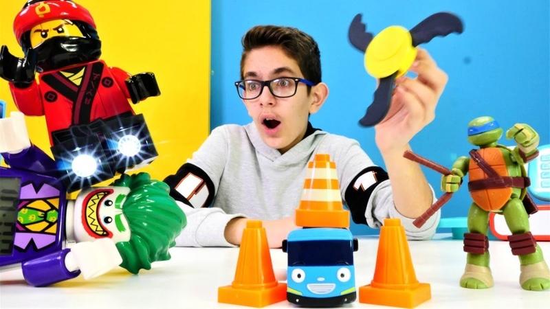 Çocuk videoları. Ninja Kaplumbağa ve Tayo oyuncak mağazada