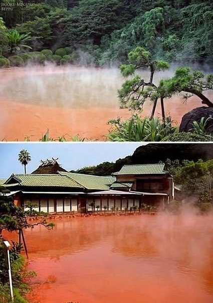 Это Кровавый пруд, один из знаменитых источников Беппу (Япония).