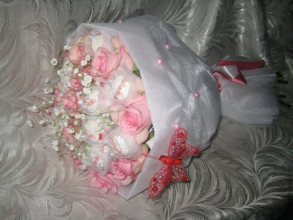 Букет живых цветов своими руками пошагово фото