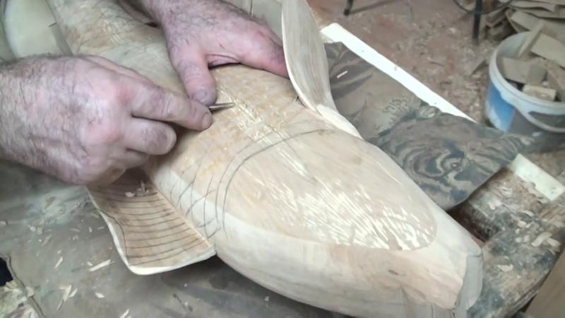 Wood Carving Сarp fish Вырезаем чешую на карпах деревянные кубки в виде карпа