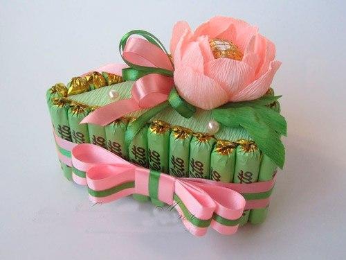 Букеты из конфет к 8 марта своими руками фото