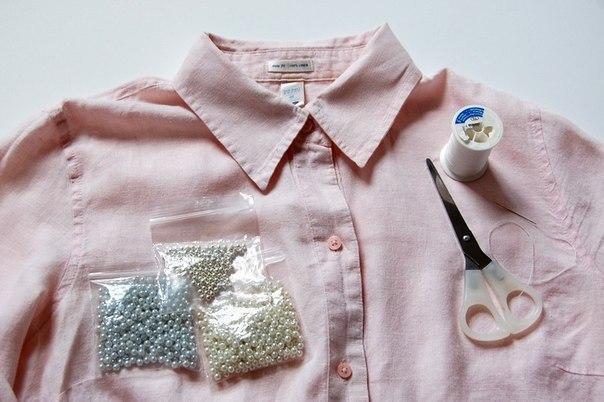 Как украсить воротник на рубашке своими руками