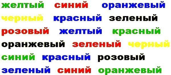 """Разбуди сонный мозг! :) """"Эффект Струпа"""". Попытайся вслух назвать ЦВЕТ каждого слова, а не само слово"""