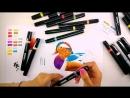 Speed painting из видео урока рисования маркерами Утка Мандаринка от Ольга Грабовой
