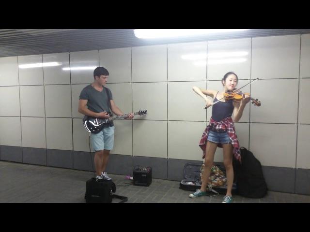 Скрипка и гитара в переходе Skillet - Comatose (Новосибирск - Речной вокзал)