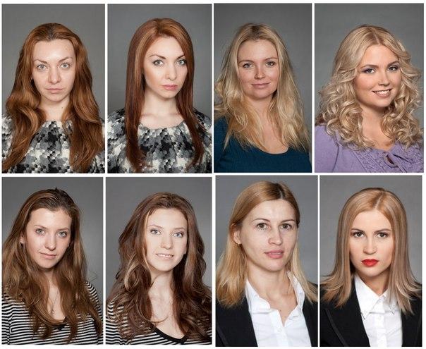 Окрашивание волос до и после