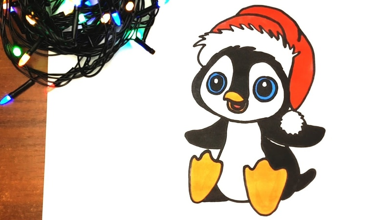 How to Draw Christmas Penguin | CHRISTMAS DRAWING AND COLORING PAGE | Penguin in Santa Hat