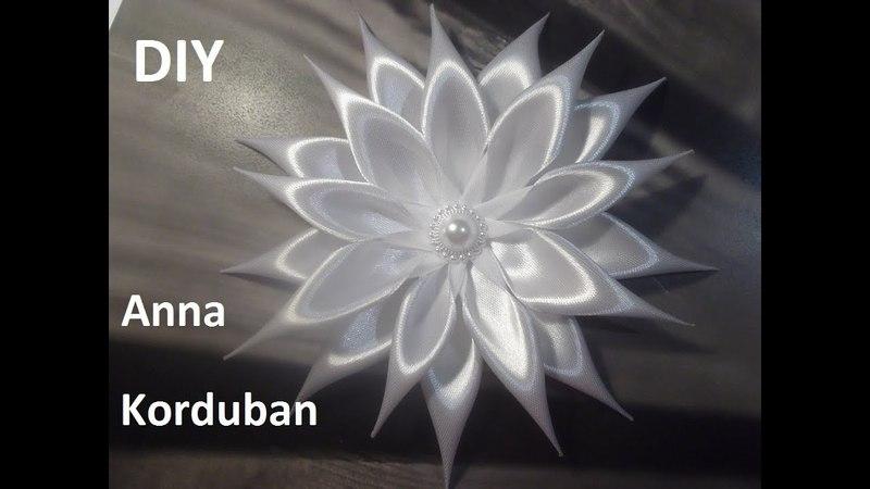 Цветок Айстра канзаши на брошке МК