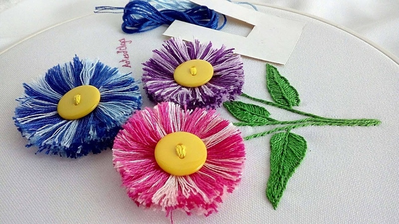 Hand Embroidery Easy trick to make fluffy flowers Artesd'Olga