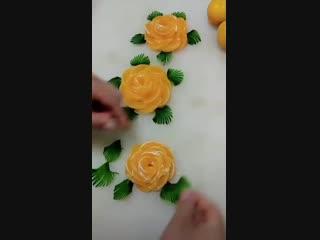 Невероятные украшения из фруктов и овощей!