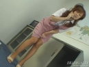 Japanese OL beauty wets herself in pink suit
