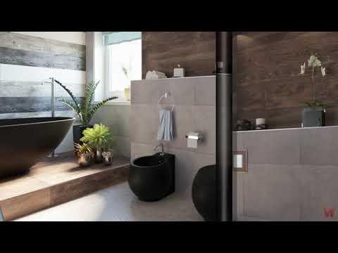 Ванная комната с черной сантехникой