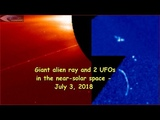 Giant Alien ray &amp UFOs in the near-solar space - July 3, 2018 (НЛО возле Солнца)
