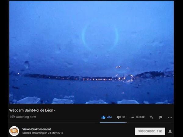 Strange Green Circle @ Saint-Pol de Léon France 2018 Oct 14th taken from a live cam feed.