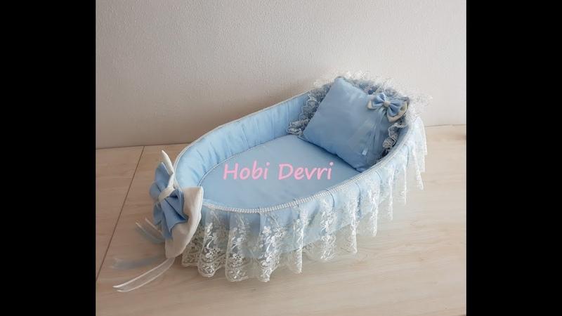 DIY,Making Baby Basket, Pillow and Bow, Hasır Bebek Sepeti Süsleme,Yastık ve Dolgulu Fiyonk Yapımı
