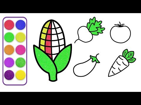 How To Draw For Kids | Top 5 Fruits and Vegetables Drawing - Coloring Pages For Kids