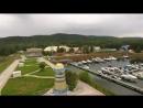 Красивый вид на Красноярскую ГЭС и базу отдыха Адмирал