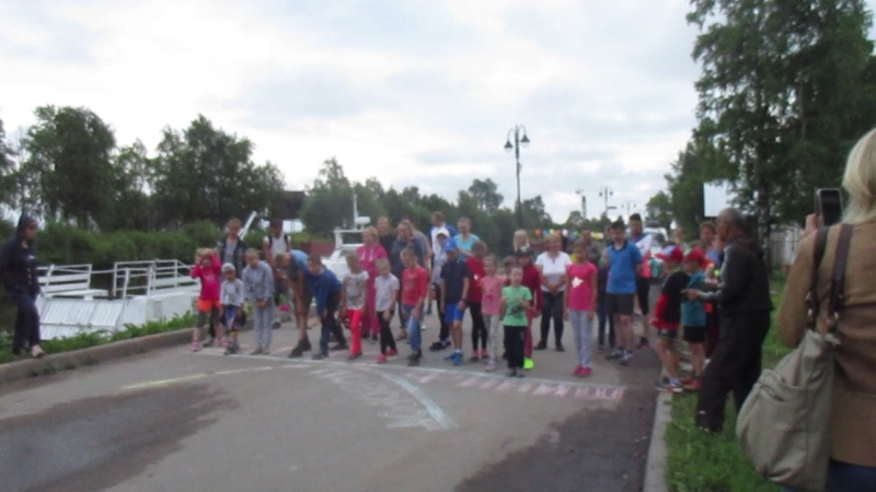 Детский забег на 1 км. Старт. г.Белозерск 7.07.2018г.