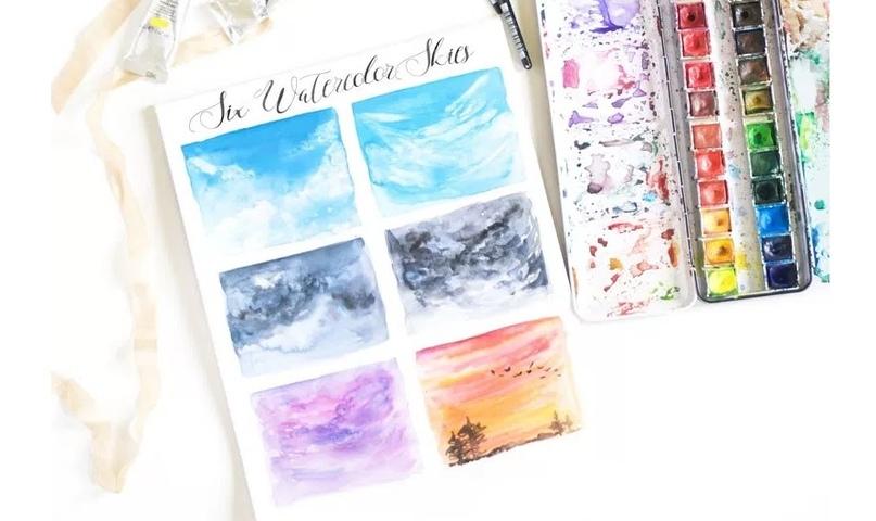 6 способов нарисовать небо акварелью