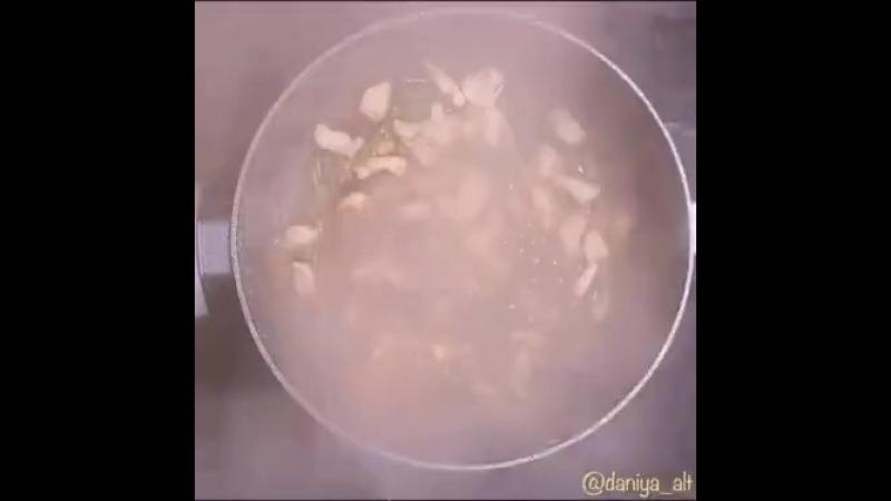 Быстрый, простой, сытный обед - спагетти с курицей в соевом соусе