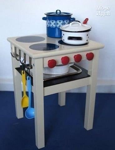 Детская игрушечная кухня своими руками из старых ящиков… (6 фото) - картинка