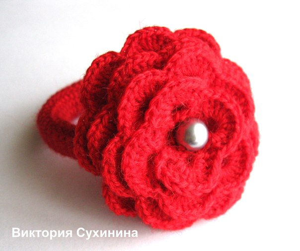 Вязала крючком, схему цветка