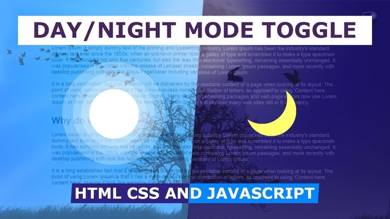 Day Night Mode Switch Toggle 2 Html CSS and Javascript