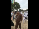 Lads walk through festival dressed as Star Wars characters