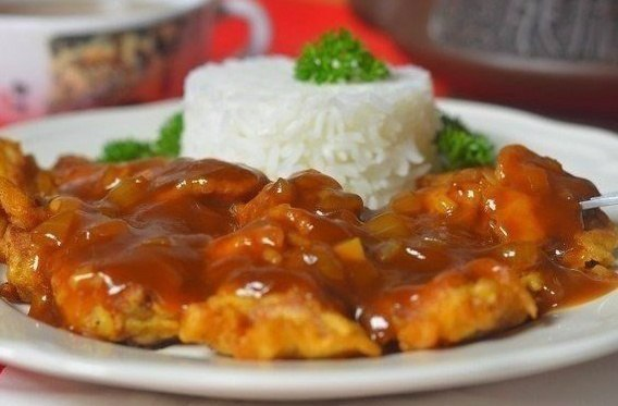 Рис с курицей в кисло-сладком соусе