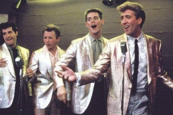 Джим Керри и Николас Кейдж на съемках 90-е годы