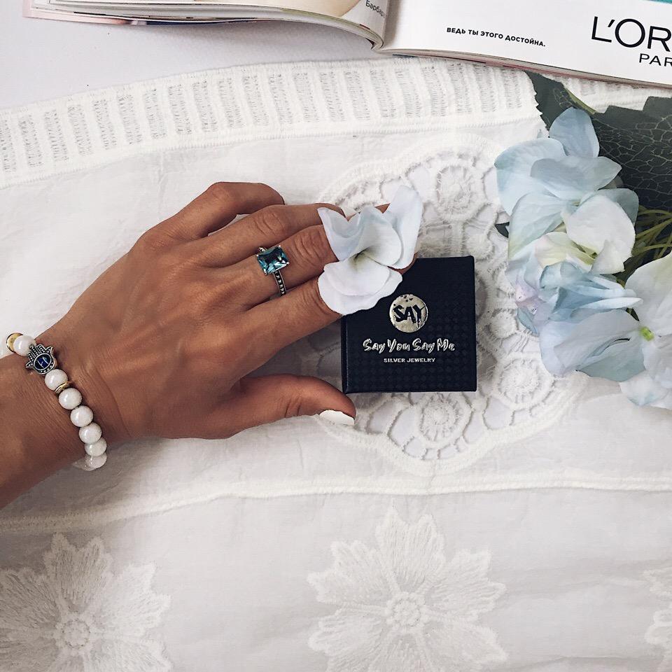 Серебряное колечко c красивейшим камнем цвета морской волны от SAY YOU SAY ME Official Store