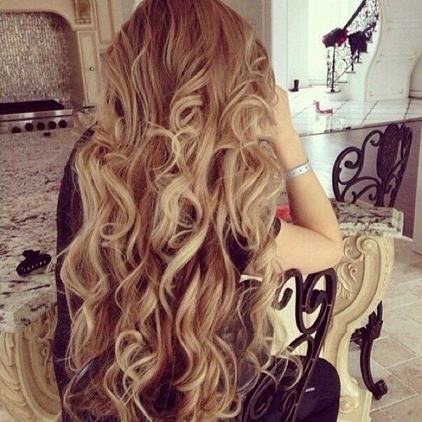 Curly dark blonde hair