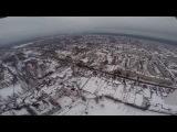 Зима.Людиново - стадион.  Высота 350 метров. Облака.