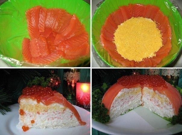Из рыбы можно приготовить множество разнообразных блюд, и даже торт. Это оригинально, празднично-красиво и вкусно! Подаваться такой торт будет, конечно, не в качестве десерта, а как закуска. Попробуйте!    Ингредиенты:   - Рыба слабосолёная (форель/сёмга) - 500 г.,   - Яйца варёные - 4 шт..