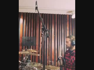 Joel from Crazy Lixx recording drums for Kristine