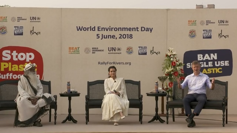 Beat Plastic Pollution Sadhguru Erik Solheim Dia Mirza