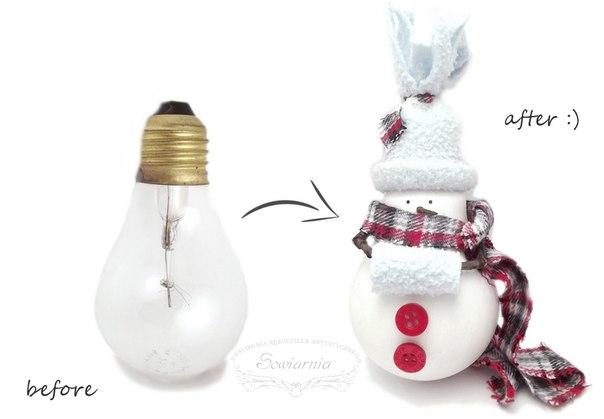 Мастер класс снеговик из лампочки