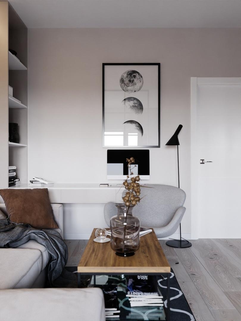Проект гостиной, совмещенной со спальней в Краснодаре, площадь 21,4 кв.