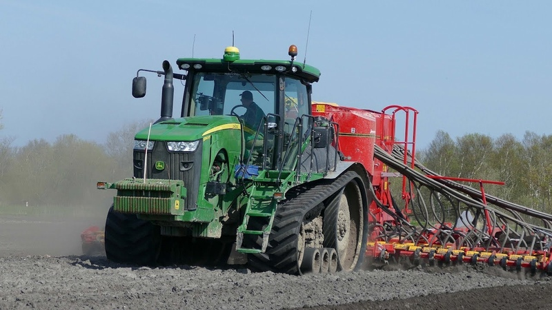 John Deere 8360RT Going Hard in The Field Seeding w 9 Meter Väderstad Spirit 900C DK Agri