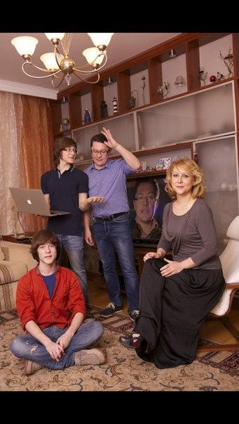 С сыновьями и женой