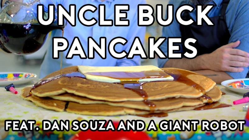Binging with Babish Pancakes from Uncle Buck feat Dan Souza and a Giant Robot