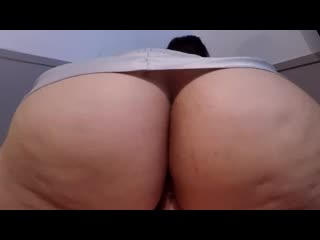 Reverse cowgirl slut in white satin rides until she cums during creampie! - big ass butts booty tits boobs bbw pawg curvy mature
