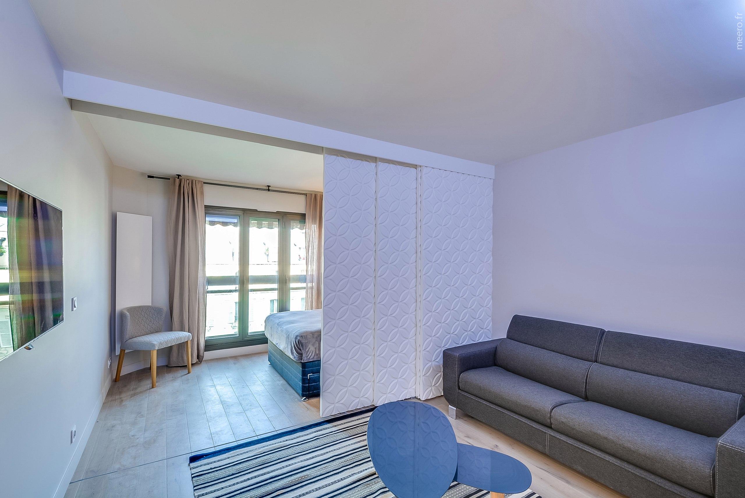 Интерьер квартиры-студии 29 м в Париже.