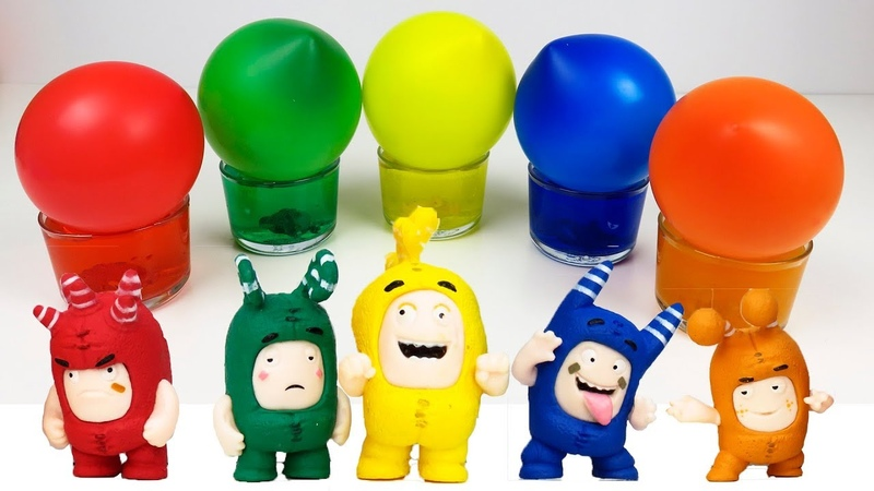 Colors with oddbods and water balloons learn english for kids