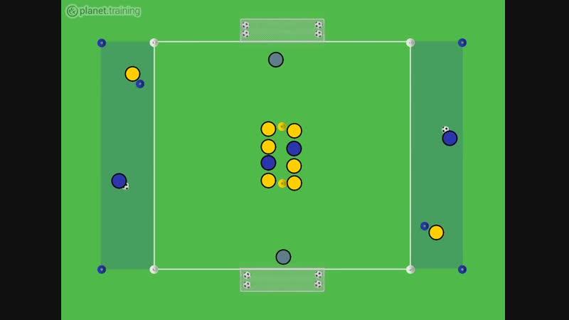 Футбольные упражнения на диагональную передачу и завершение атаки
