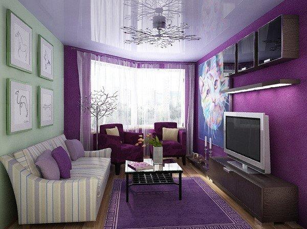 Интересная идея для небольшой квартиры. Уютно и в то время жизнерадостно, благодаря красивой мебели … (1 фото) - картинка